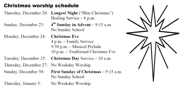 Christmas Schedule 2012