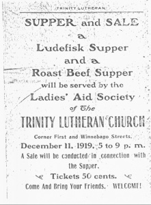 Announcement of a church supper from 1919.