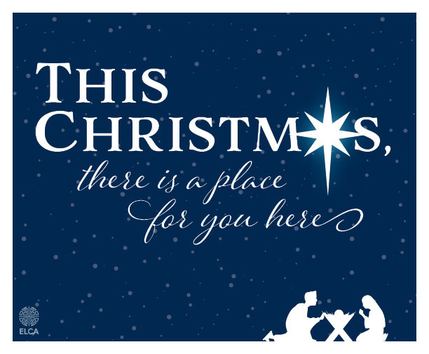 ELCA Christmas Graphic, nativity with blue sky, stars